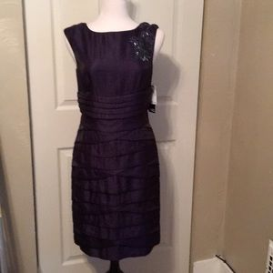 Eggplant Adrianna pappel embellished dress